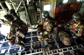 Pathfinders prepare to exit from a C130 Hercules on a HALO jump, 2005.