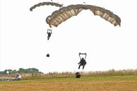 Pathfinders landing on a DZ during training, 2005.
