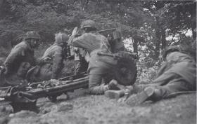 Airborne 6 Pounder of 1st Bn Border Regiment, in Action, Arnhem, 1944