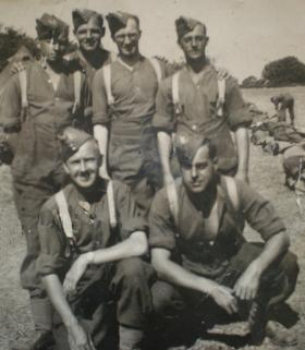 Group photograph of men from 13th Battalion Warwicks prior to conversion to 8th (Midlands) Parachute Battalion