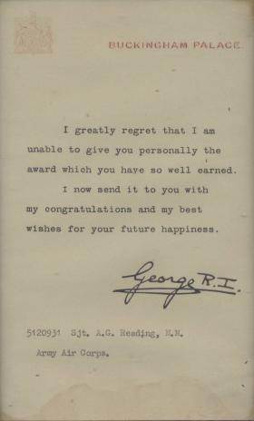 King George VI Medal Award Letter to Sgt Allan Reading