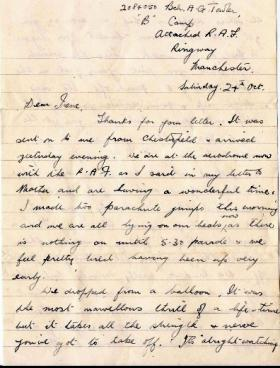 Bdr Towler's letter to his sister Irene, RAF Ringway, 24 Oct 1942.
