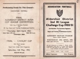 Aldershot 2nd XI League Challenge Cup 1950/51 2 PARA V RAMC.