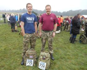 Mark Ross and son Tom, before the tab, Aldershot Paras 10,  March 2013.