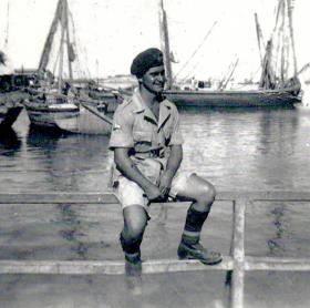 Pte Alex Dunbar, ferry crossing point to Sinai Desert, Egypt 1951.