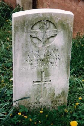 Headstone for Pte Alexander Anderson, Belton Lincolnshire, 1999.