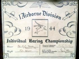 Boxing certificate for Pte Young, 1st Para Bn, 1944.