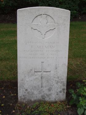 Headstone of Pte Frederick Allman, Oosterbeek War Cemetery, 2009.