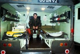 Pte O'Toole during an Ambulance Strike, Chelsea Bks prior to going to Twickenham, 1989.