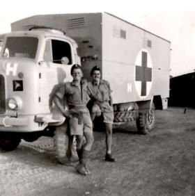 An ambulance of 23 PFA, Camp H Cyprus
