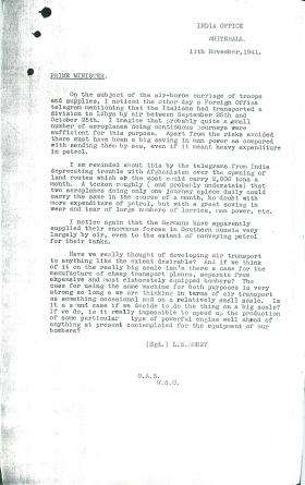 Copy of letter from LS Amery to Churchill on airborne carriage of troops and supplies. Dated November 11th 1941.