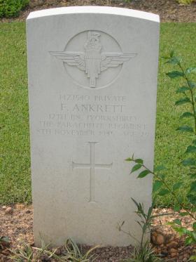 Headstone for Frank Ankrett Kranji War Cemetery Singapore