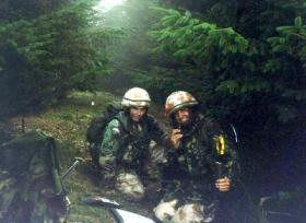 Cpl Cragg and Capt Macaulay OC,  Anti Tanks, 4 PARA. Otturburn 1997.