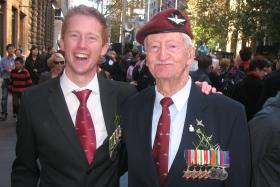 'Bill' Mackay with his grandson Brendan, Anzac Day, Sydney, 2012.