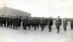 Air Officer Commading inspection at Cardington of newly formed Parachute Balloon Training Company, early 1950s.