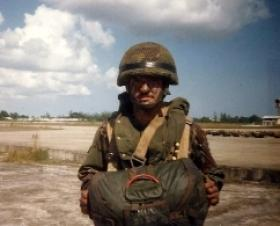 Private Macaulay, A Company 2 PARA at Airport Camp Belize prior to a Company jump, 1987.