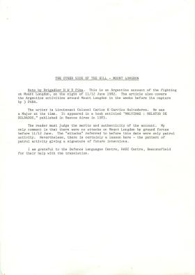 Argentinian account of fighting on Mount Longdon, 11/12 June 1982.