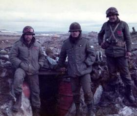 Argentine soldiers by their sangar, Airfield Peninsular, Falklands, 1982