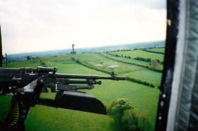 Flying top cover on 'Round Robin' of locations, Golf Tower in background, South Armagh, May 1994.