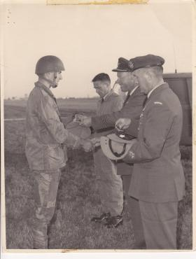 Iain Bowen receiving his parachute wings 1968