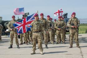 C (Bruneval) Company, 2nd Battalion The Parachute Regiment on parade at the Exercise Noble Partner opening ceremony