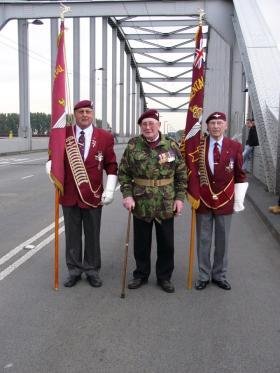 Dennis Collier with Standard Bearers, Arnhem Bridge 2011.