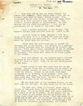 Personal account by Capt EM Mackay of 1st Para Sqn RE in Arnhem.