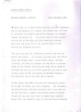 Arnhem Address by General Sir Frank King Bulford 23 September 1984