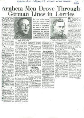 Newspaper article about Pegasus 1 escape after Arnhem, 1944.
