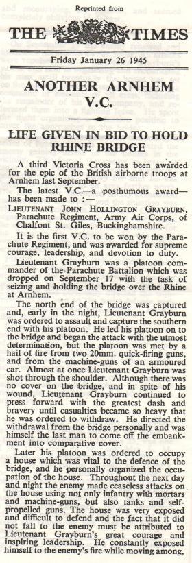 Newspaper report on Lt Grayburn VC, 1945