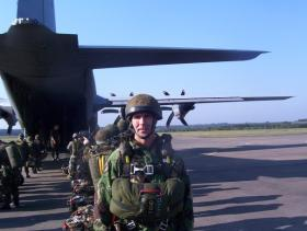 Steve Kinsella preparing to emplane a C-130 for the Arnhem commemorative jump, 2008.