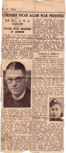 Newspaper article relating to Padre A Harlow at Arnhem, 1944