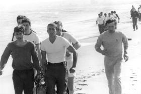 Log race on Aberdeen beach. Early '80s.