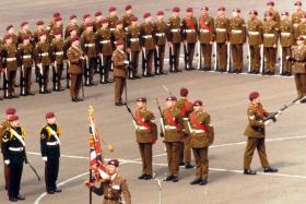Presentation of new colours to 15 Para. 28 May 1982.