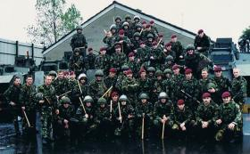 Members of B Coy 2 PARA on public order training, Belfast, October 1994.