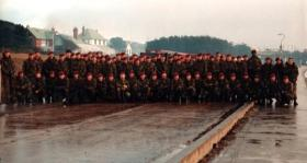 B Company 2 PARA after its entry in to Port Stanley, Falkland Islands, 1982.