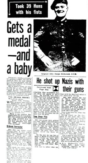 Newpaper article announcing Sgt McDonnell's DCM and the birth of his son, Daily Mirror, 1943.