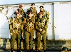 Members of 1 Para Provost Platoon RMP (V) waiting to emplane, RAF Northolt, 1970s.