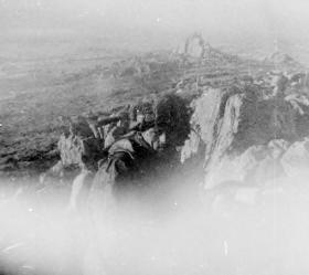 Pte Len Baines on Mount Longdon looking towards Port Stanley, morning of 12 June 1982.