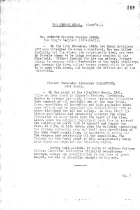 Citation for the award of the George Medal to Alexander Ballantyne, 1941.