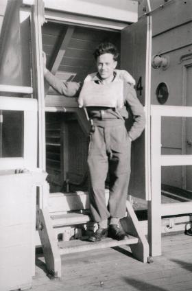Sgmn Jim Ballantyne on a troopship, c1947.