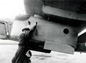 Close up of parachutist pod fixed to a Fairey Barracuda, AFEE, World War II.