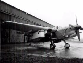 A Fairey Barracuda converted for parachute drops, AFEE, World War II.