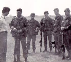HRH Prince of Wales with OC Capt Andrews and members of Pathfinder Platoon, Salisbury Plain, 1979.