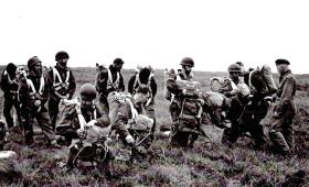 Getting ready for balloon jump at Barry Buddon, Scotland, 1956.