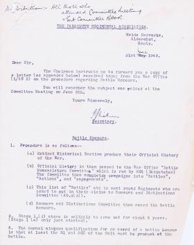 Procedure of Battle Honours, 21 June 1948