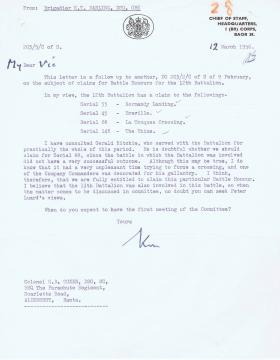 Letter regarding four proposed claims for Battle Honours for 12th Battalion, 12 March 1956.