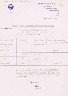 Letter regarding Battle Honours claim for 6th Battalion, 17 February 1956.
