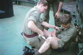 Battlefield Resuscitation training onboard the MV Norland, 1982