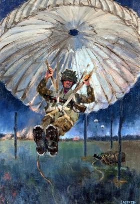 Parachutist Landing, Normandy by Gerry Lacoste.